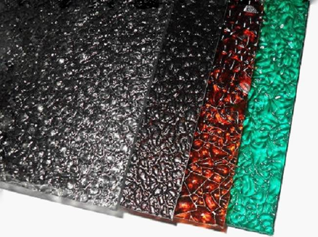 Embossed polycarbonate sheets in clear, bronze, orange and green